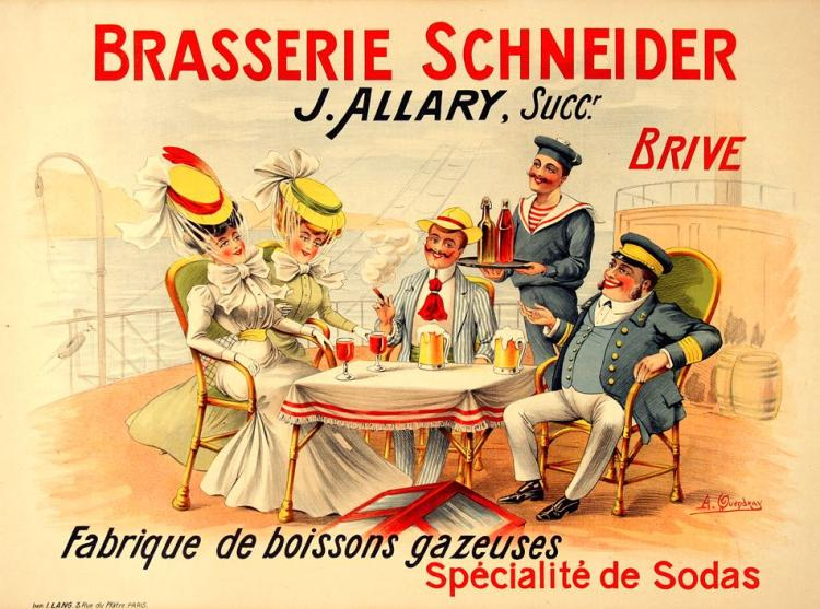 BRASSERIE SCHNEIDER ORIGINAL FRENCH VINTAGE BAR AND FOOD POSTER