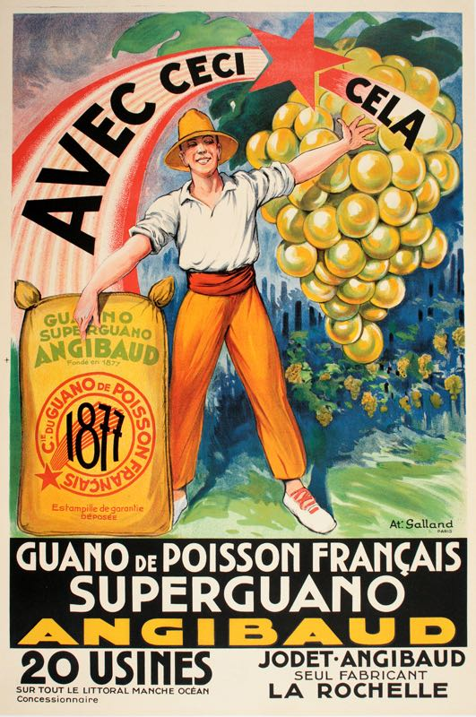 ANGIBAUD SUPERGUANO - MEDIUM SIZE ORIGINAL VINTAGE AGRICULTURE POSTER