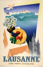 LAUSANNE CATHEDRAL SWISS TRAVEL POSTER BY WALTHER