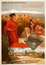 L'ANDALOUSIE  ORIGINAL VINTAGE TRAVEL POSTER BY HUGO D'ALESI 1905