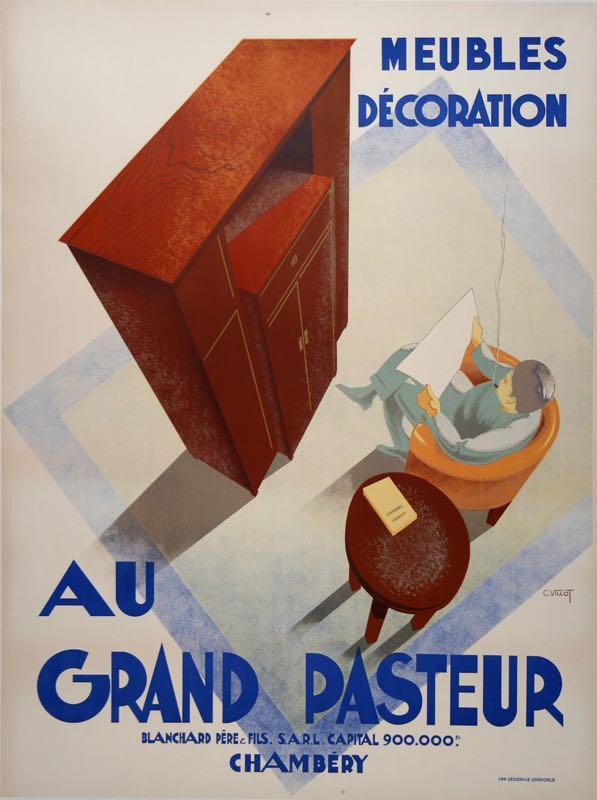 GRAND PASTEUR ORIGINAL ART DECO VINTAGE POSTER BY VILLOT