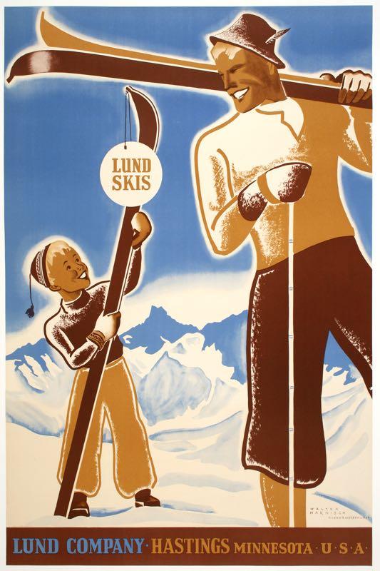 LUND SKIS ORIGINAL VINTAGE AMERICAN SKI POSTER BY HARNISCH 1955