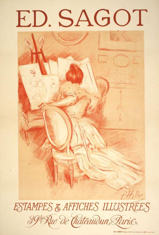 ED. SAGOT ORIGINAL ART NOUVEAU POSTER BY PAUL HELLEU 1897