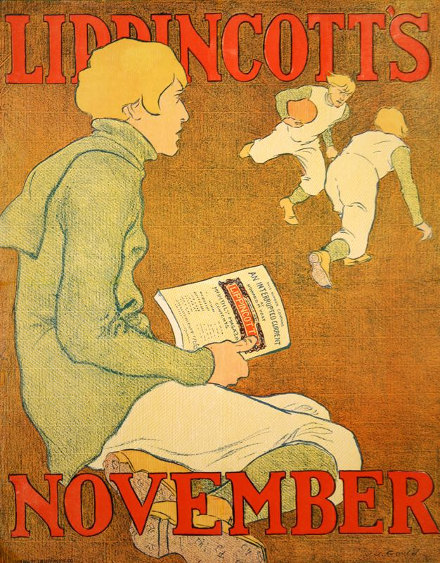 LIPPINCOTT'S ORIGINAL VINTAGE LITERARY POSTER FROM  NOVEMBER 1896 BY GOULD