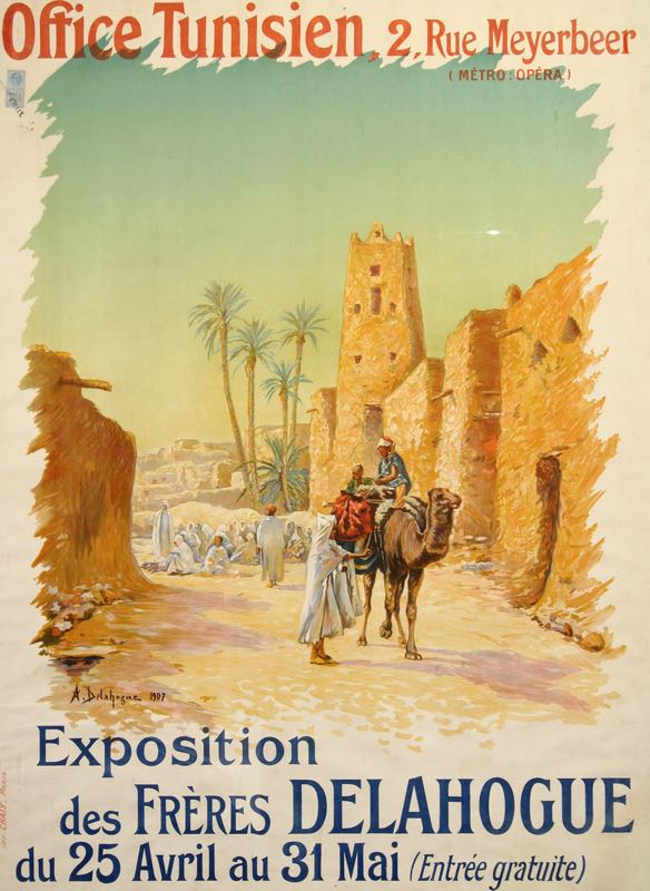 EXPOSITION DES FRERES ORIGINAL VINTAGE NORTH AFRICA TRAVEL POSTER BY DELAHOGUE