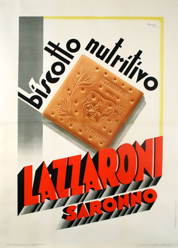 LAZZARONI BISCUIT ORIGINAL VINTAGE ITALIAN FOOD POSTER