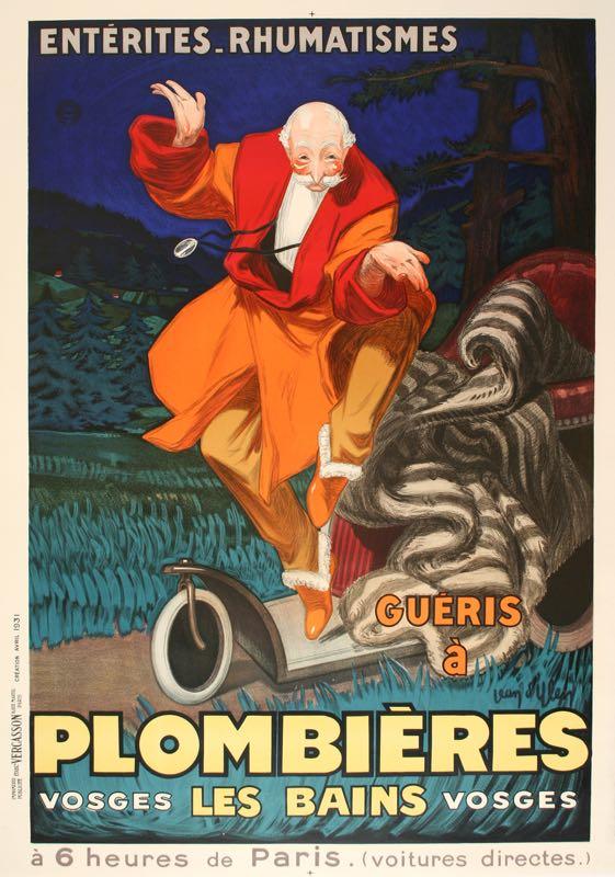 PLOMBIERES ORIGINAL VINTAGE SPA POSTER BY JEAN D'YLEN 1931