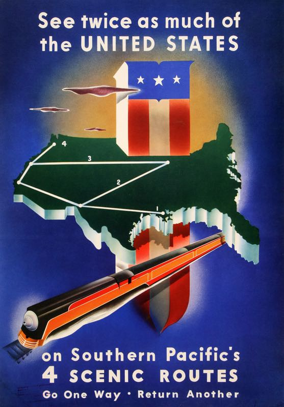 SOUTHERN PACIFIC ORIGINAL VINTAGE RAILROAD TRAIN POSTER BY BROWER 1938