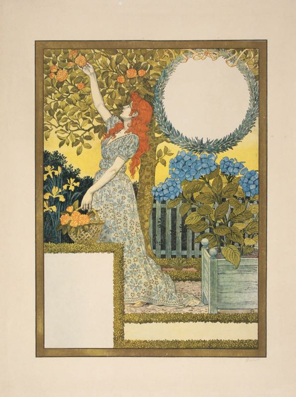 ORIGINAL HAND-SIGNED CALENDAR PRINT BY EUGENE GRASSET 1897 ART NOUVEAU