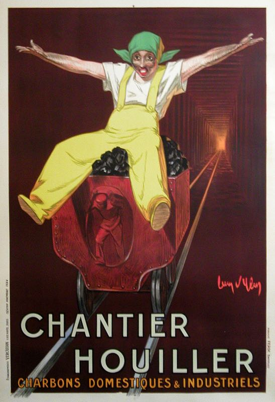 CHANTIER HOUILLER ORIGINAL VINTAGE COAL POSTER BY JEAN D'YLEN 1924
