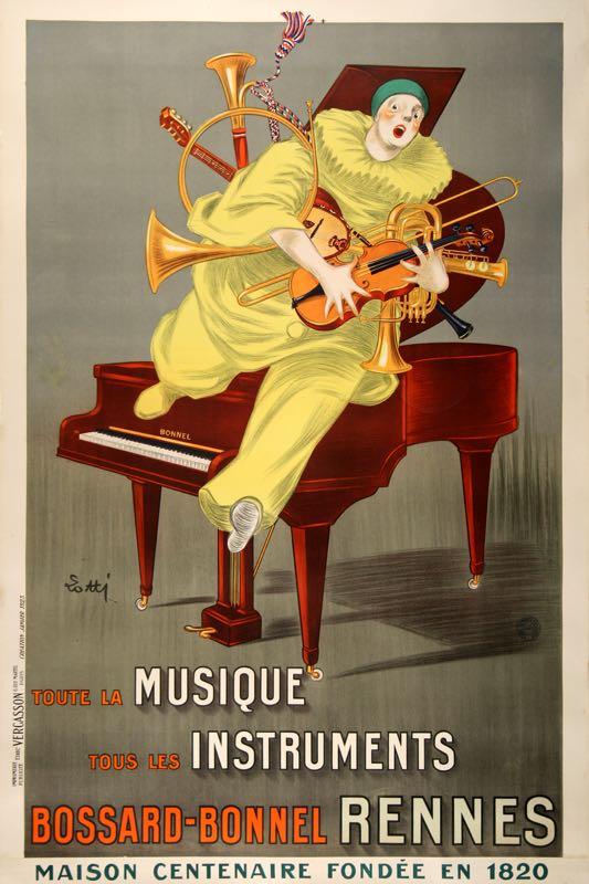 LOTTI CLOWN ORIGINAL VINTAGE MUSIC STORE POSTER BY LOTTI 1925