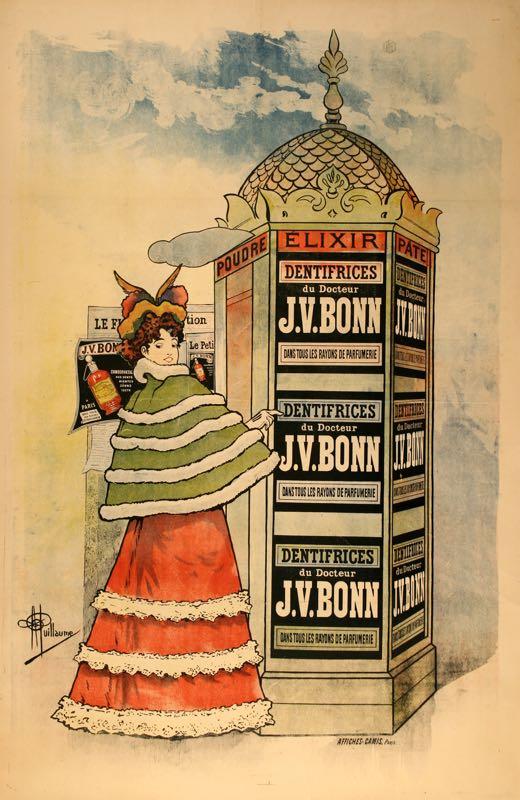 DENTIFRICE DU DOCTEUR BONN ORIGINAL VINTAGE OVERSIZE TOOTHPASTE POSTER 1893