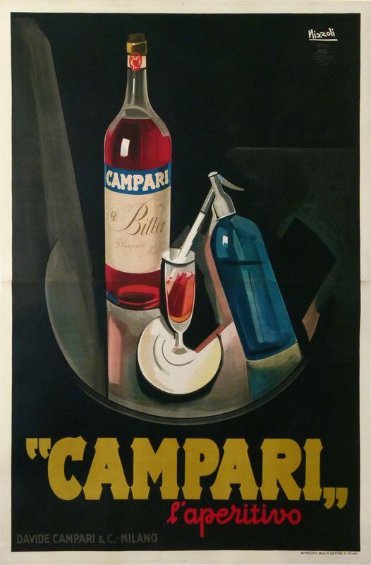 BITTER CAMPARI ORIGINAL RARE OVERSIZE ITALIAN LIQUOR POSTER BY NIZZOLI 1926