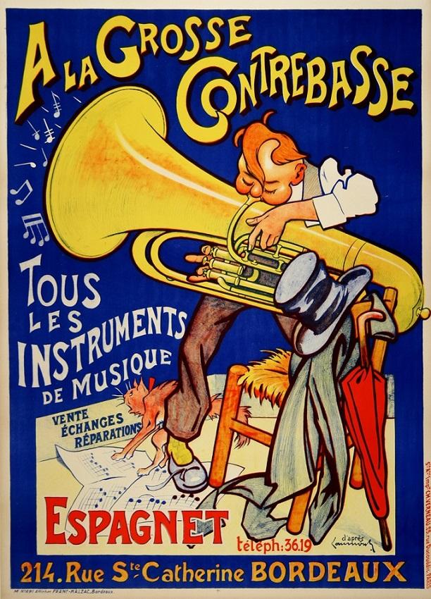 A LA GROSSE CONTREBASSE ORIGINAL VINTAGE MUSIC POSTER BY LAUMOND