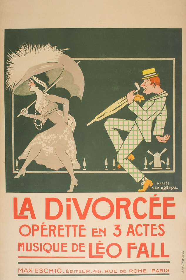 LA DIVORCEE ORIGINAL VINTAGE OPERA POSTER BY DORIVAL