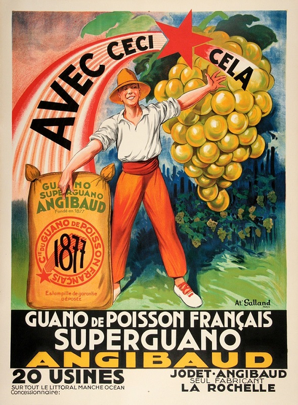 ANGIBAUD SUPERGUANO ORIGINAL VINTAGE FARM POSTER BY GALLAND