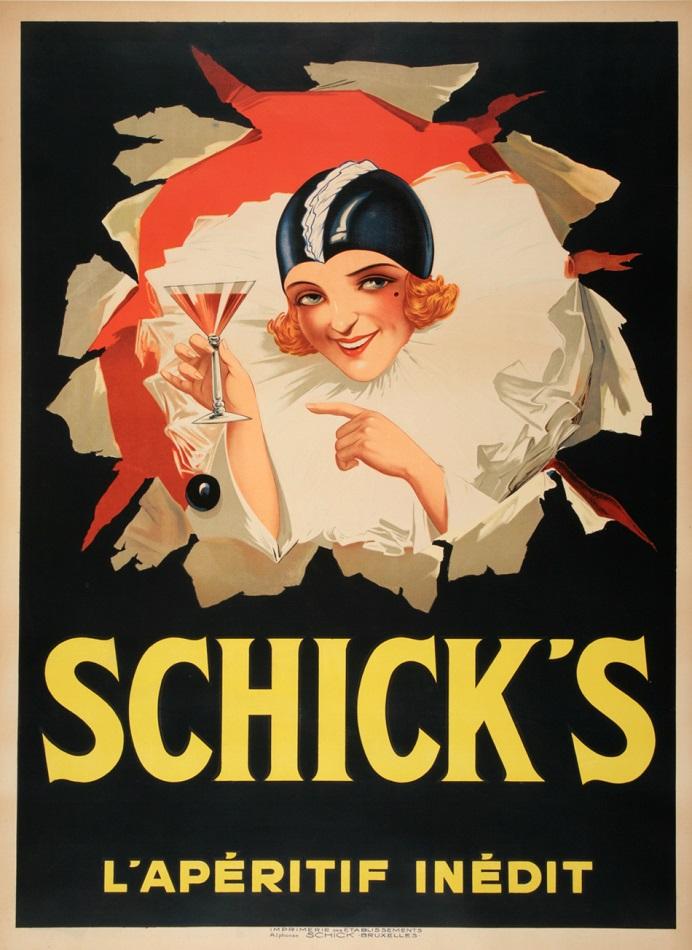 SCHICK'S - LADY IN BEIGE - ORIGINAL VINTAGE POSTER CIRCA 1925