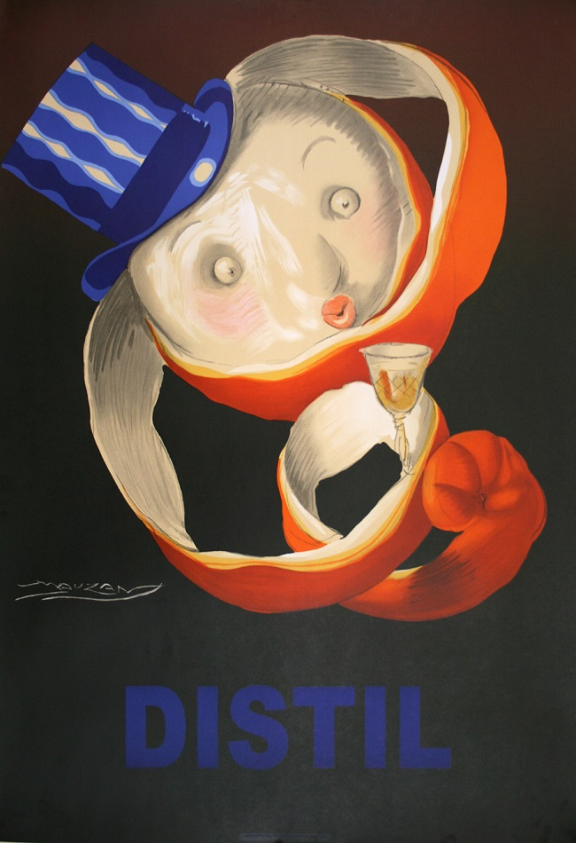 DISTIL MAUZAN ORANGE PEEL - ORIGINAL POSTER DESIGNED BY ACHILLE MAUZAN