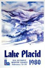 LAKE PLACID WINTER OLYMPICS 1980 - MOUNTAIN TEXT ORIGINAL VINTAGE POSTER