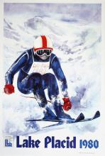 LAKE PLACID WINTER OLYMPICS 1980 -  SKIER TEXT ORIGINAL VINTAGE POSTER