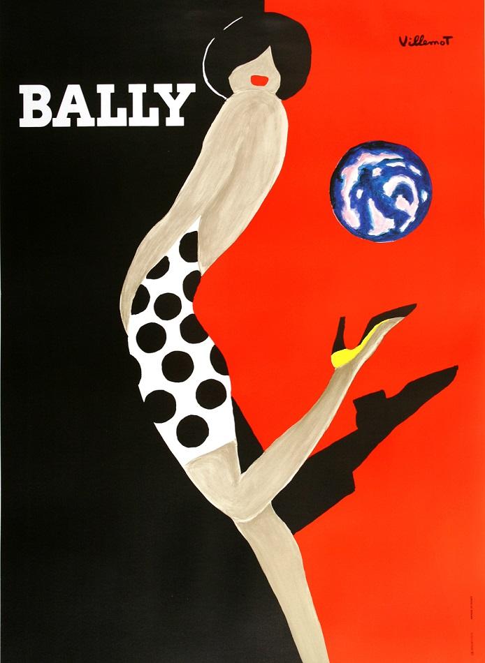 BALLY KICK ORIGINAL VINTAGE POSTER BY BERNARD VILLEMOT