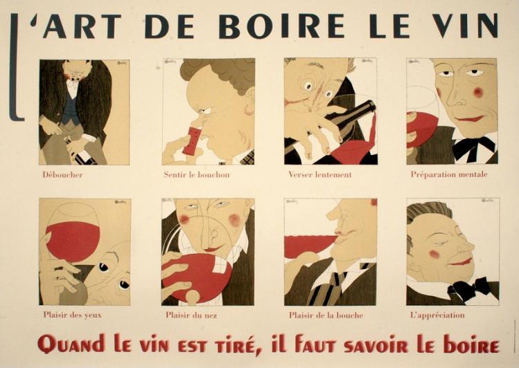L'ART DE BOIRE LE VIN ORIGINAL VINTAGE POSTER