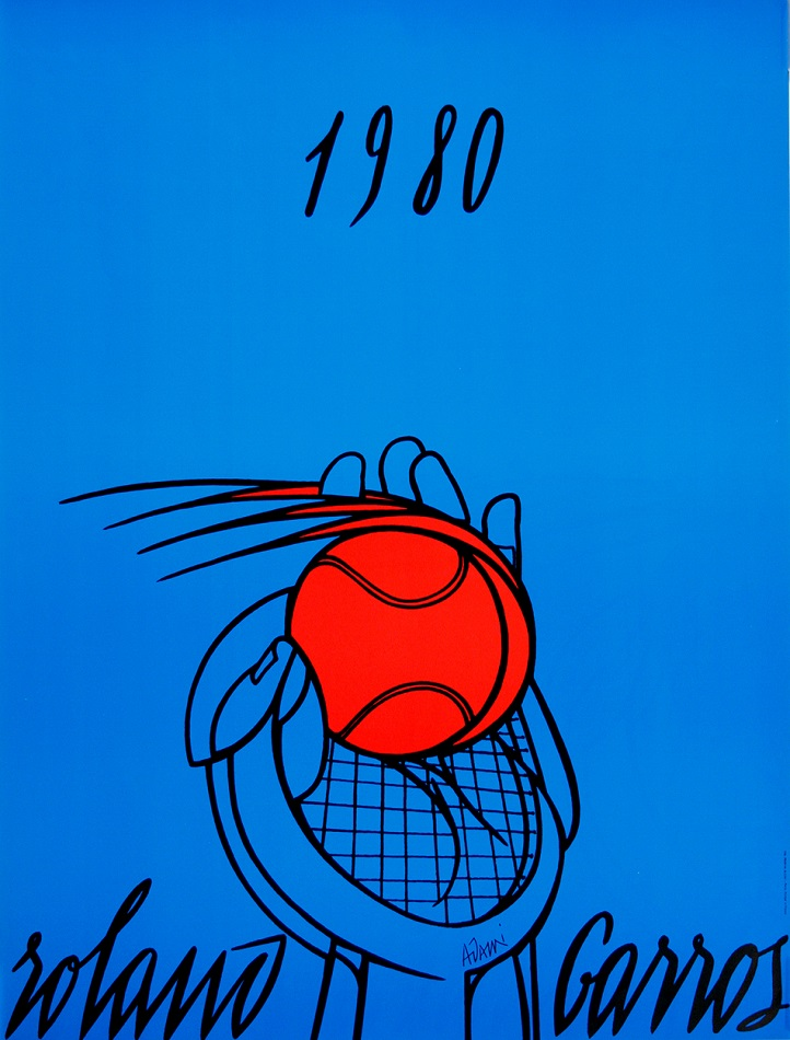 ROLAND GARROS 1980 ORIGINAL VINTAGE FRENCH OPEN TENNIS POSTER BY ADAMI