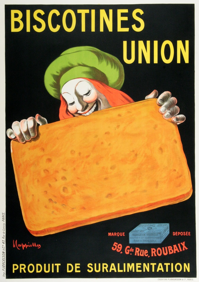 BISCOTINES UNION ORIGINAL VINTAGE POSTER BY LEONETTO CAPPIELLO 1920
