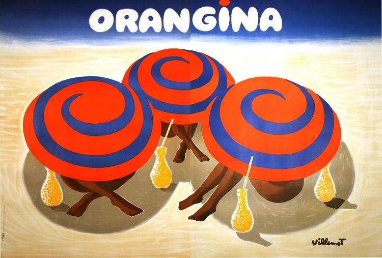 ORANGINA THREE UMBRELLAS OVERSIZE ORIGINAL VINTAGE POSTER BY BERNARD VILLEMOT