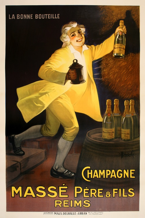 ORIGINAL VINTAGE CHAMPAGNE MASSE POSTER BY MARCELLIN AUZOLLE C1920 FRENCH