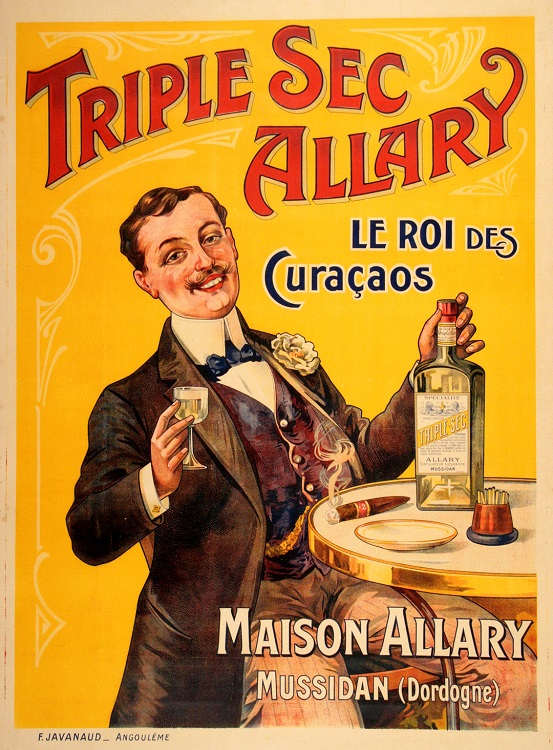 ORIGINAL VINTAGE TRIPLE SEC ALLARY FRENCH LIQUOR POSTER C1905