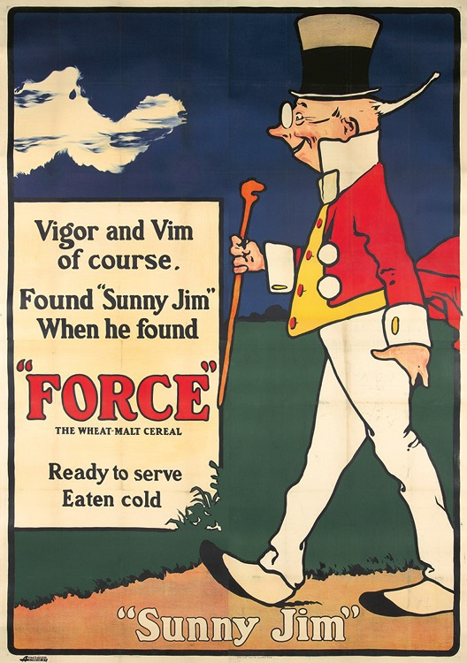 ORIGINAL VINTAGE SUNNY JIM FORCE POSTER BY GEORGE YOUNG KAUFFMAN C1903 AMERICAN OVERSIZE