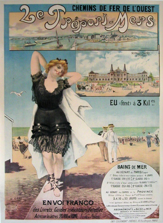 ORIGINAL VINTAGE POSTER LE TREPORT MERS BY GRAY C1905 FRENCH BEACH