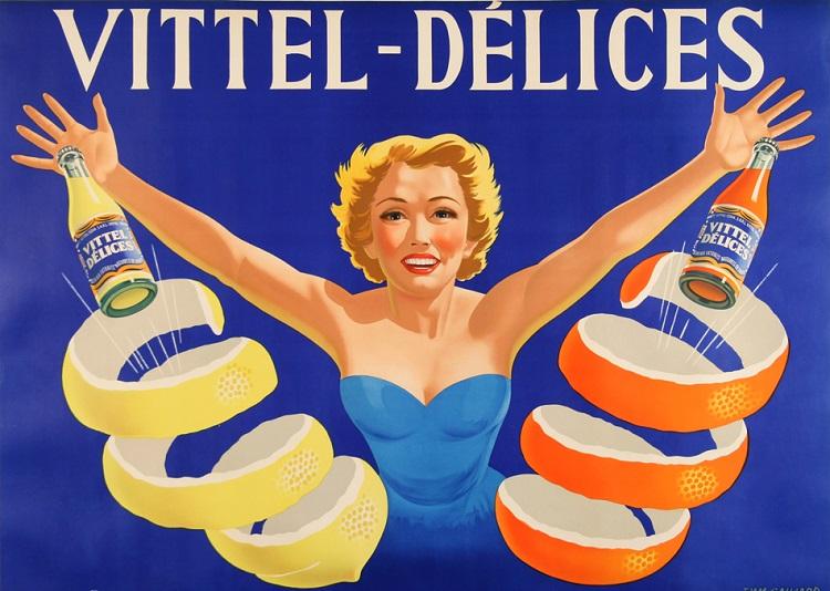 ORIGINAL VINTAGE VITTEL DELICES DRINK POSTER BY GAILLARD C1955 MIDCENTURY