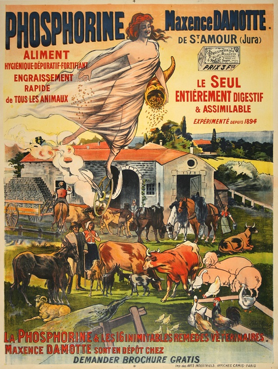ORIGINAL VINTAGE FARM POSTER PHOSPHORINE BY LOBEL RICHE C1910