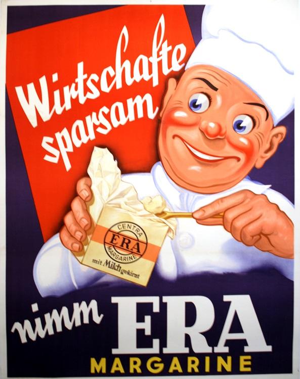 ORIGINAL VINTAGE SWISS ERA MARGARINE FOOD POSTER C1935
