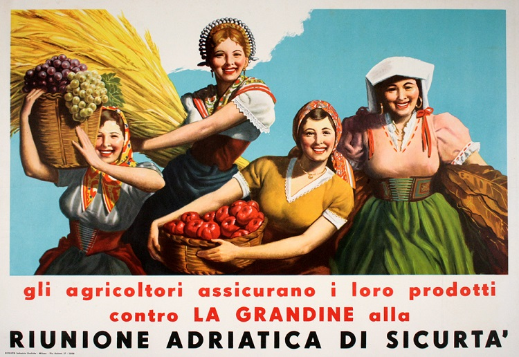 ORIGINAL VINTAGE ITALIAN POSTER RIUNIONE ADRIATICA DI SICURTA BY GINO BOCCASILE C1950