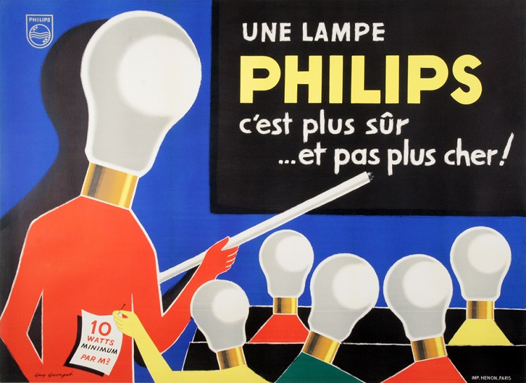 ORIGINAL VINTAGE PHILIPS LIGHTBULB POSTER BY GEORGET C1960 MIDCENTURY MOD