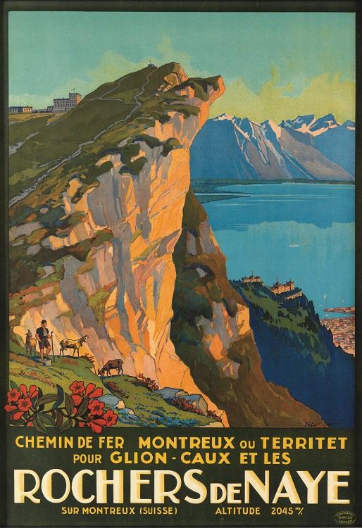 ORIGINAL VINTAGE SWISS ALPS ROCHERS DE NAYE TRAVEL POSTER BY EMIL MULLER 1927 CHEMIN DE FER