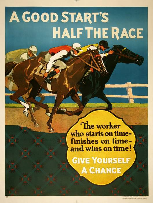 ORIGINAL VINTAGE 1927 MATHER WORK INCENTIVE POSTER -A GOOD START IS HALF THE RACE - HORSE RACING