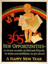 ORIGINAL VINTAGE 1927 MATHER WORK INCENTIVE POSTER -365 NEW OPPORTUNITIES - A HAPPY NEW YEAR