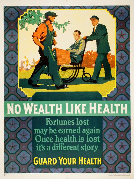 ORIGINAL VINTAGE 1927 MATHER WORK INCENTIVE POSTER -NO WEALTH LIKE HEALTH