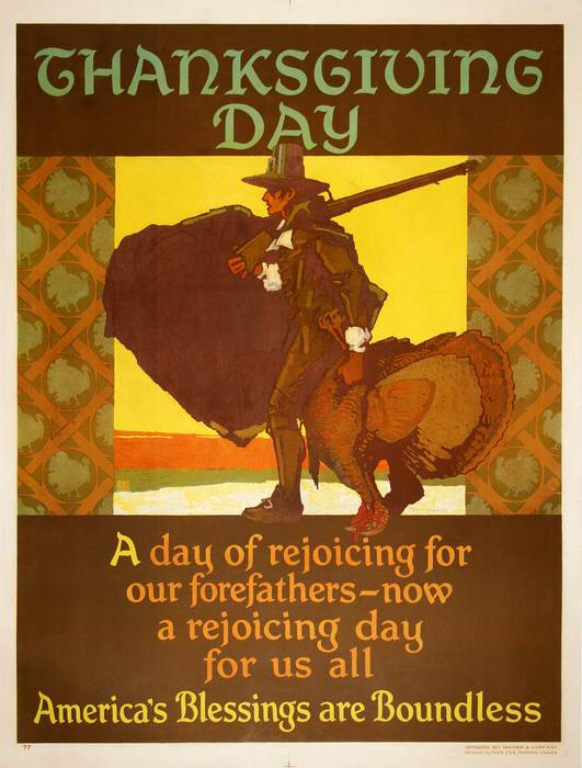 ORIGINAL VINTAGE 1927 MATHER WORK INCENTIVE POSTER -THANKSGIVING DAY - AMERICA'S BLESSINGS ARE BOUNDLESS
