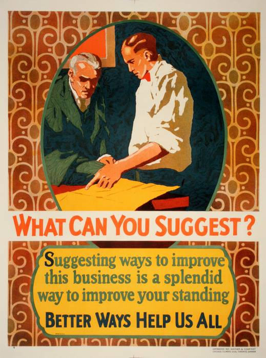 ORIGINAL VINTAGE 1927 MATHER WORK INCENTIVE POSTER -WHAT CAN YOU SUGGEST?