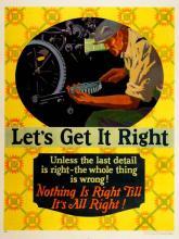 ORIGINAL VINTAGE 1927 MATHER WORK INCENTIVE POSTER -LET'S GET IT RIGHT