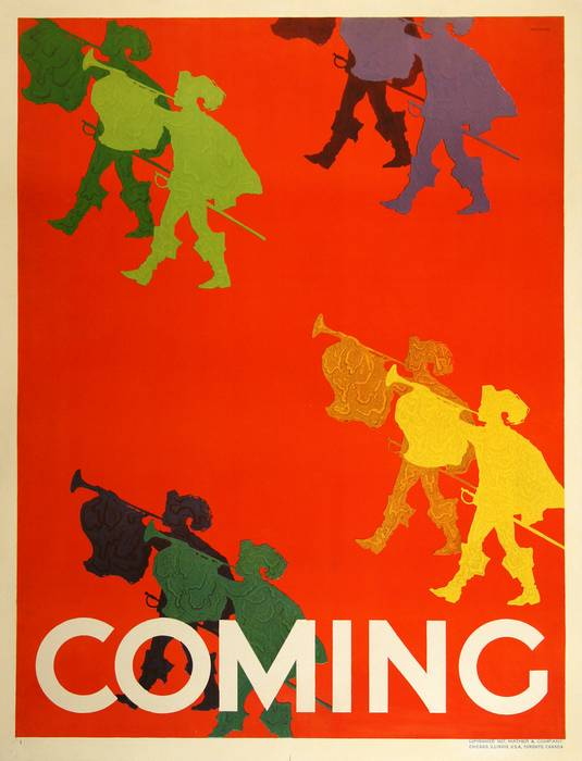 ORIGINAL VINTAGE 1927 MATHER WORK INCENTIVE POSTER -COMING - TRUMPETERS