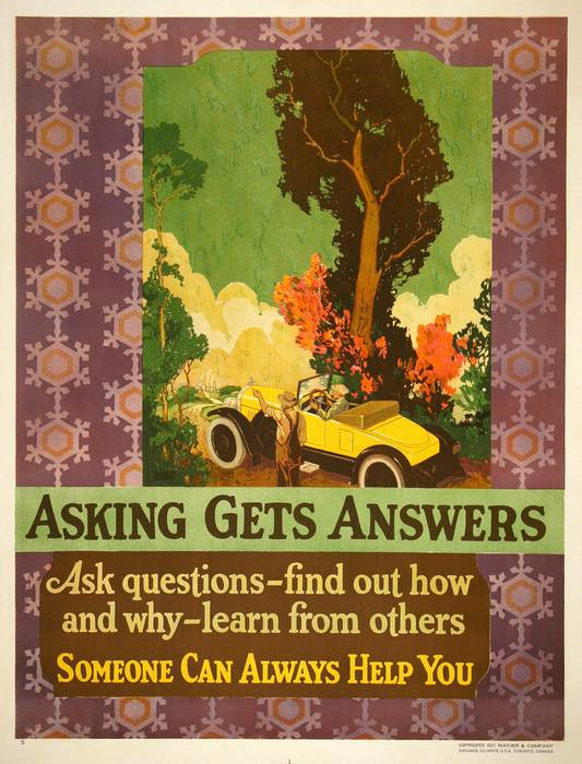 ORIGINAL VINTAGE 1927 MATHER WORK INCENTIVE POSTER -ASKING GETS ANSWERS