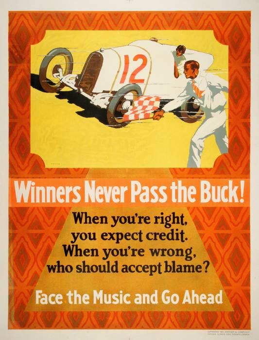 ORIGINAL VINTAGE 1927 MATHER WORK INCENTIVE POSTER -WINNERS NEVER PASS THE BUCK - AUTO RACING