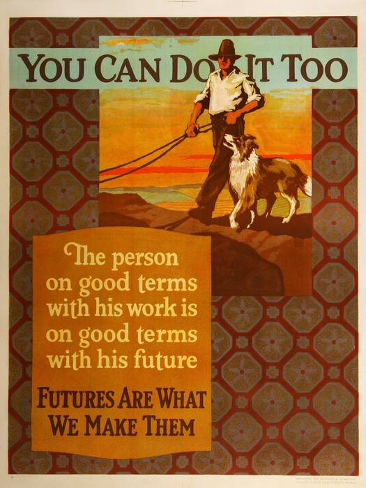 ORIGINAL VINTAGE 1927 MATHER WORK INCENTIVE POSTER -YOU CAN DO IT TOO