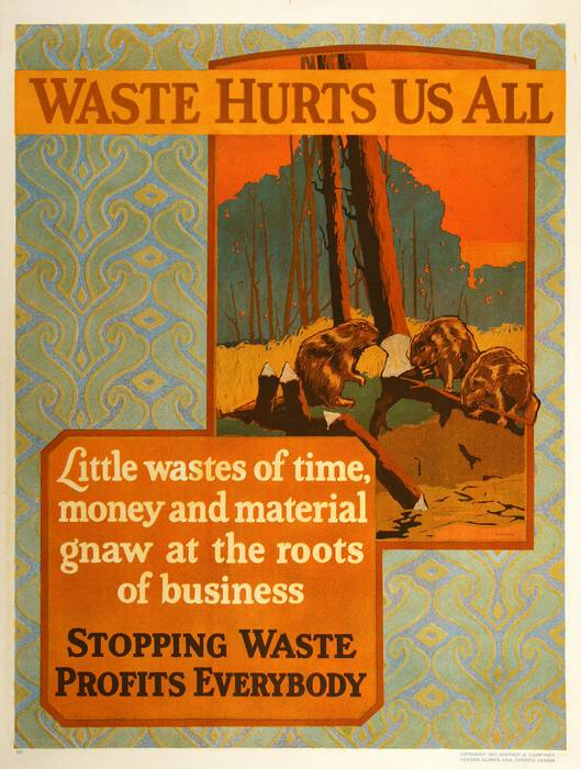 ORIGINAL VINTAGE 1927 MATHER WORK INCENTIVE POSTER -WASTE HURTS US ALL